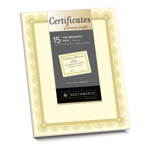 Southworth Premium Weight Foil-Enhanced Certificates, 8.5 x 11 Inches, 66 lb, Spiro Design, Ivory with Gold Foil, 15 Count (CTP2V) by ()