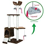 PET PALACE Cat Tree Kitten Activity Tower Condo with Perches - Scratching Posts - and Squeaking Mice - APL1342 - Brown