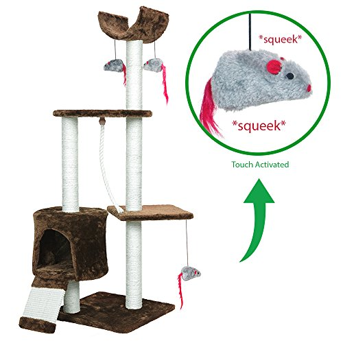 PET PALACE Cat Tree Kitten Activity Tower Condo with Perches, Scratching Posts, and Squeaking Mice, APL1342, Brown