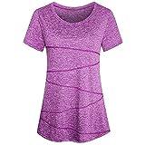 Womens Solid T-Shirt FEDULK Short Sleeve Yoga Tops Activewear Running Workout Blouse Sweatshirt(Purple, US Size L = Tag XL)