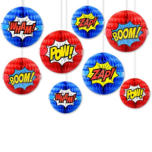 Super Hero Decorations (Superhero party Honeycomb Decorations, Superhero Hanging Paper Honeycomb ball Decorations - Party Decor - Superhero Theme Birthday Supplies (4)