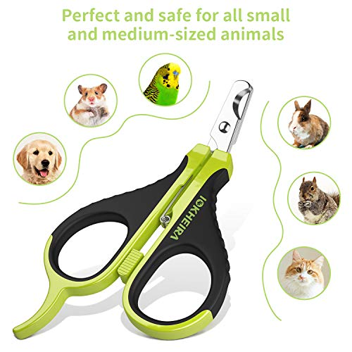 IOKHEIRA Cat Nail Clipper, Stainless Steel Cat Nail Trimmers, Guinea Pig Nail Clippers, Pet Nail Clippers for Cats, Pet Claw Scissors with Angled Blade, Bird Nail Clipper, Sharp Cat Nail Clipper Best
