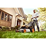 "WORX WG751 40V 19'' Cordless Lawn Mower, 2 Batteries & Charger Included, Black and Orange 10 Our 20"" 40V PowerShare mower comes with 2 rechargeable 20V 5.0Ah batteries that deliver 40V of rugged mowing power Steel makes all the difference. It lasts longer and performs better on undulating terrain. And with 20"" of it, you'll make fewer passes on your lawn Worx Power Share is compatible with all Worx 20v and 40v tools, outdoor power and lifestyle products"