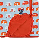Kickee Pants Custom Print Toddler Blanket - Pond Camper With Poppy Trim and Reverse