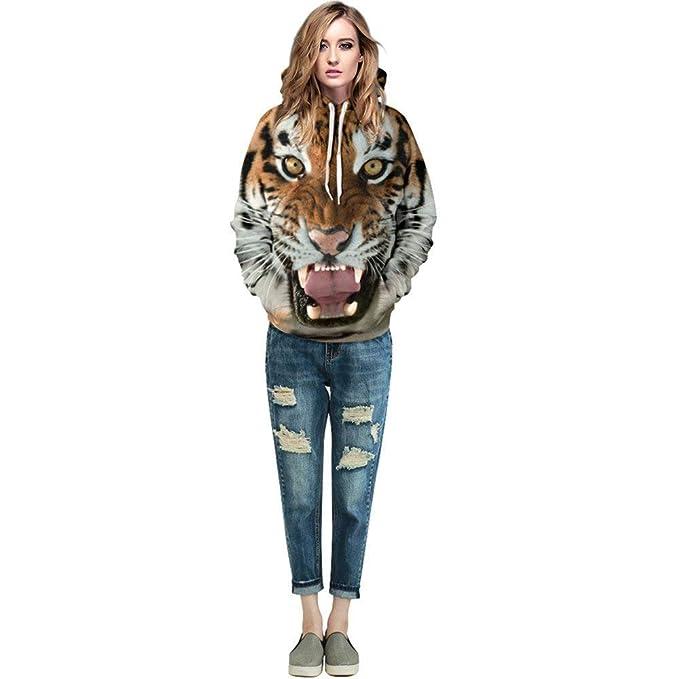 Sudaderas con Capucha Pareja Unisex Elegantes Moda Sudaderas con Capucha Otoño Invierno Tiger Löwe Fashion Impresión