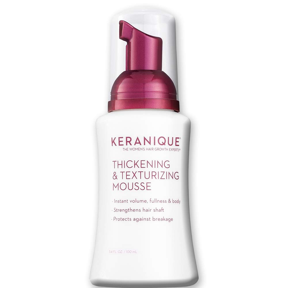 Keranique Thickening & Texturizing Mousse, 3.4 Fl Oz - Instant Volume, Thickness and Body, Leaving Hair with Smooth and Soft Touch | Strengthens Hair Shaft and Protects Against Breakage by Keranique