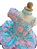 YIPEISHA Little Girls' Baby Beading Multicoloured Party Cupcake Pageant Dresses 1 US Pink&Blue