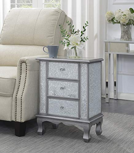 - Convenience Concepts 413359SCG Gold Coast Vineyard 3-Drawer Mirrored End Table, Silver/Cracked Glass, Antique