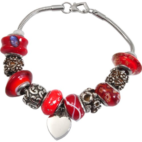 Memorial Gallery Vermillion Red Remembrance Bead Pet Heart Urn Charm Bracelet, 8'' by Memorial Gallery