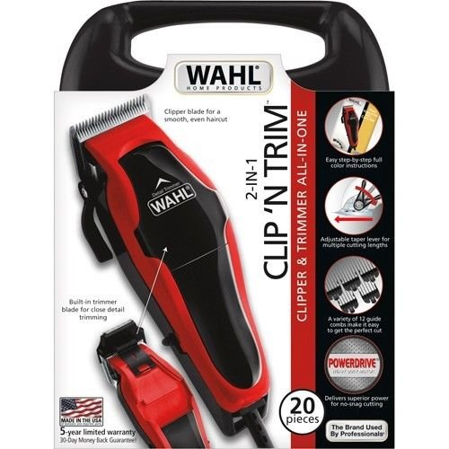 (Wahl Clip'n Trim All-In-One Clipper & Trimmer 20 Piece Pro Hair-Cutting Kit)