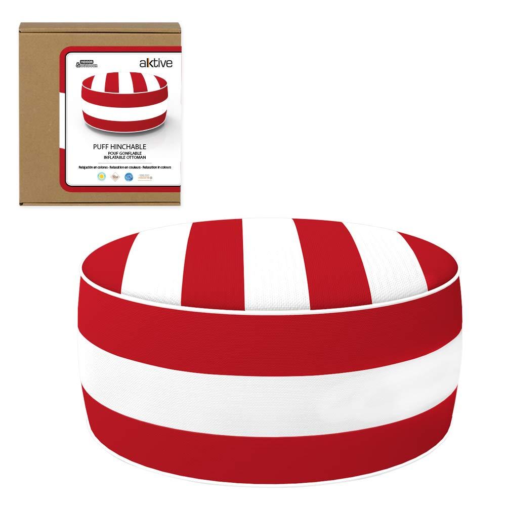 Aktive 79039 - Puff hinchable Ottoman, poliéster hilado, repele el agua, 53 x 23 cm, colonial rojo