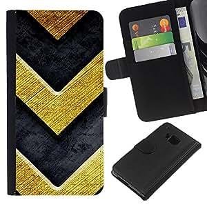 Planetar® Modelo colorido cuero carpeta tirón caso cubierta piel Holster Funda protección Para HTC One M9 ( Chevron Bling del oro de la textura de metal cepillado )