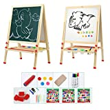 Tresbro Wooden Easels, 2 Sided Easel Board for Chalkboard and Whiteboard, Art Stand Easel for Kids Painting with Clip Magnetic Alphabet Numbers, Eraser, Chalk Set, Mats, Pen
