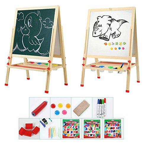 Tresbro Wooden Easels, 2 Sided Easel Board for Chalkboard and Whiteboard, Art Stand Easel for Kids Painting with Clip Magnetic Alphabet Numbers, Eraser, Chalk Set, Mats, Pen by Tresbro