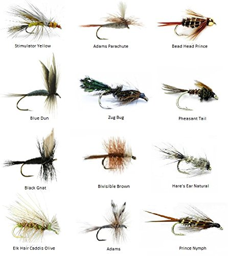 Feeder Creek Fly Fishing Lures for Trout/Other Freshwater Fish - 72 Hand Tied Fishing Flies (6 Dozen) - 12 Patterns in Size 14 - Wet, Dry, Nymph, Bead Head -