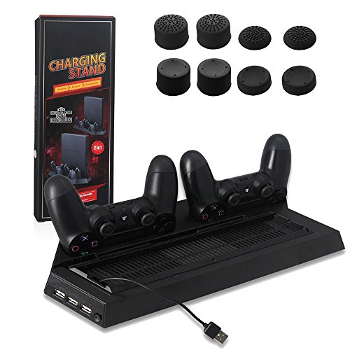 Vertical Stand fan for PS4 Slim - YTTL Cooling Fan Dual Charging Station for Playstation 4 Playstation 4 Slim DualShock 4 Controllers, with Dual USB HUB Charger Ports