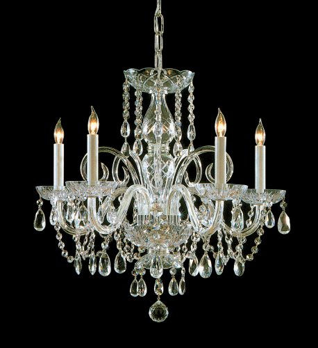 Polished Brass Traditional Crystal 5 Light Candle Style Chandelier With Swarovski Spectra (Crystorama Swarovski Spectra Crystal Chandelier)