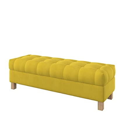 Miraculous Furninero 140 Cm Wide Button Tufted Upholstered Opened Storage Bench Footstool Ottoman Squared Legs Majestic Velvet Yellow Fabric Gmtry Best Dining Table And Chair Ideas Images Gmtryco