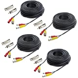 Hykamic 4 Pack 100ft BNC Video Power Cable Security Camera Wire Cord for CCTV DVR Surveillance System, Support 1080P Security Cameras Systems, Made by Pure Copper