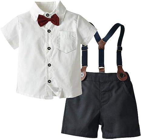 AEPEDC Ropa para niños Algodón Verano Camisa Blanca + Pantalones Cortos con cinturón 4 Piezas Traje para niños Conjunto Formal de Ropa para bebés y niños pequeños: Amazon.es: Deportes y aire libre