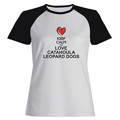 Idakoos Keep calm and love Catahoula Leopard Dogs Maglietta Raglan Donna