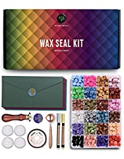 Wax Seal Kit - Great Value Wax Stamp Kit for Letter Sealing with 624 Pcs Wax Seal Beads, Wax Seals Stamp, Wax Seal Warmer, Melting Spoon, Vintage Envelopes, Metallic Pens & Tea Light Candles.