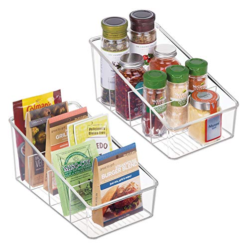 mDesign Plastic Food Packet Organizer Bin Caddy – Storage Station for Kitchen, Pantry, Cabinet, Countertop – Holds Spice Pouches, Dressing Mixes, Hot Chocolate, Tea, Sugar Packets – 2 Pack, Clear
