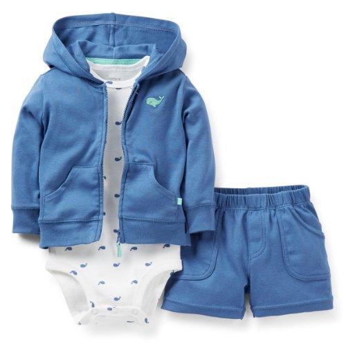 Carter's Whale 3-Piece Hooded Cardigan Shorts Set Newborn