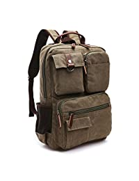 Aidonger Vintage Canvas School Backpack Laptop Backpack 15-Inch (Army green)