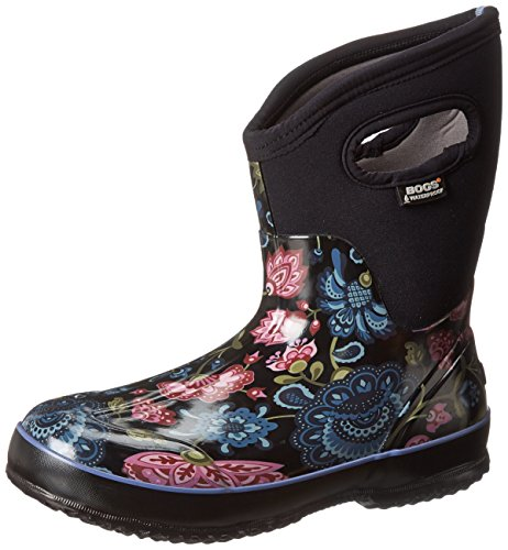 Bogs Women's Classic Mid Winter Blooms Waterproof Insulated Boot, Black Multi,8 M US