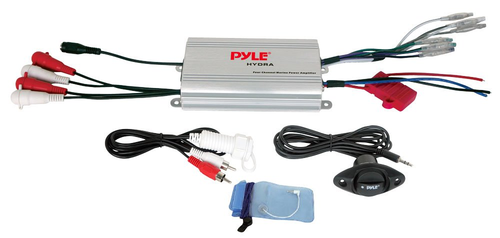 Pyle Hydra Marine Amplifier - Upgraded Elite Series 400 Watt 4 Channel  Micro Amplifier - Waterproof, GAIN Level Controls, RCA Stereo Input, 3 5mm
