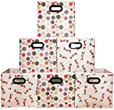 [6 Pack,Polka & Love Pattern] Beautiful Storage Bins, Containers, Boxes, Tote, Baskets| Collapsible Storage Cubes For Household Offices Organization |Nursery Foldable Fresh Cubes| Dual Plastic Handle
