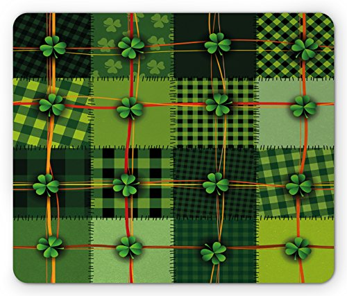 Ambesonne Irish Mouse Pad, Patchwork Style St. Patrick's Day Themed Celtic Quilt Cultural Checkered with Clovers, Standard Size Rectangle Non-Slip Rubber Mousepad, Multicolor (Day Quilt)