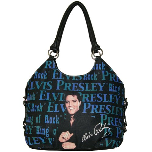 Elvis Presley King Of Rock Purse - Printed Fabric Bag With Multiple Pockets