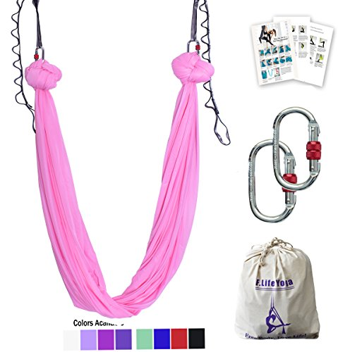 5.5 yards Premium Aerial Silk Fabric Yoga Swing for Antigravity Yoga Inversion Include Daisy Chain ,Carabiner and Pose Guide (Cherry pink) (Pink Silk Parachute)