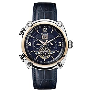 Ingersoll Men's Automatic Stainless Steel and Leather Casual Watch, Color:Blue (Model: I01101)