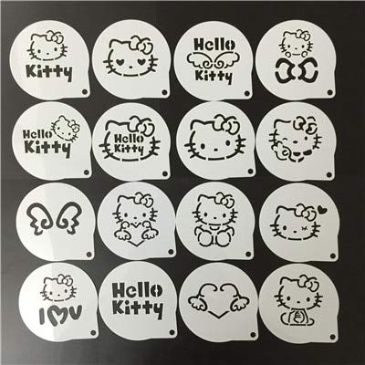 1 lot 16Pcs/Set Cartoon Latte Coffee Stencils Hello Kitty Cake Mold Fondant Cookies Baking Tools Art DIY Tools D07]()