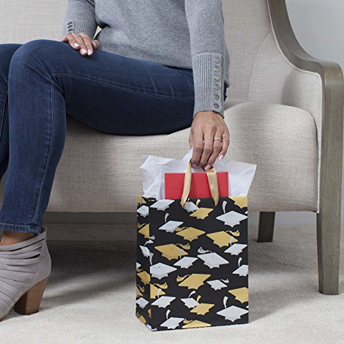 Hallmark Graduation Medium Gift Bag With Tissue Paper (Gold and Silver Metallic Mortarboards)