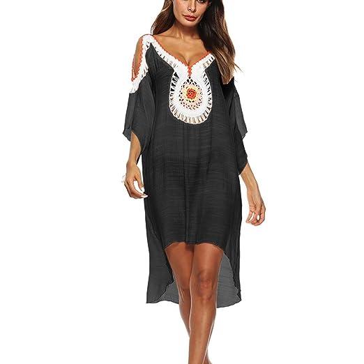 4e6046941a CreazyDog® Women Loose Swimsuit Bikini Stylish Beach Cover up Sunscreen Shirt  Bikini Smock (Black