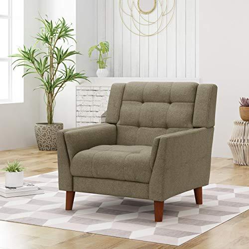 Evelyn Mid Century Modern Fabric Arm Chair, Mocha