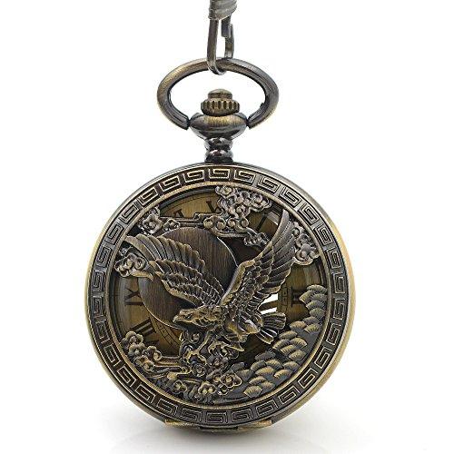 (Skeleton Classic Steampunk Pocket Watch US Eagle Emblem Army Mens Bronze Fashion Vintage Hand Wind Mechanical Pocket Watch Gift)
