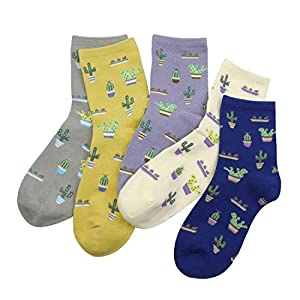 BLACOCO Cute Women's Plant Patterned Crew Sock Knit Cotton Casual Tube Socks (Lovely Cactus)