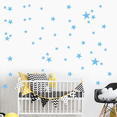 38Pcs Wall Stickers, E-Scenery Star Peel and Stick DIY 3D Wall Decals Mural Art Wallpaper for Kids Room Home Nursery Party Window Decor (Light Blue) -