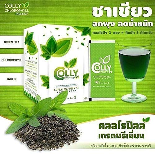 Colly Chlorophyll Plus Fiber Extract chlorophyll. Green tea fragrance. Detoxification. Beautiful from the inside. Fiber Drink Green Tea, Belly reduction Slim Firm Detox (1 Box / 15 Sachets)