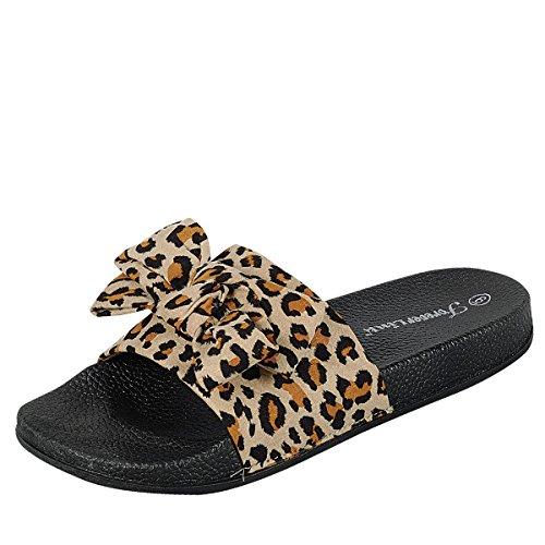 Forever Link Mujeres Dedo Del Pie Arco Nudo Mulas Slipper Plataforma Baja Diapositiva Sandalias Leopard