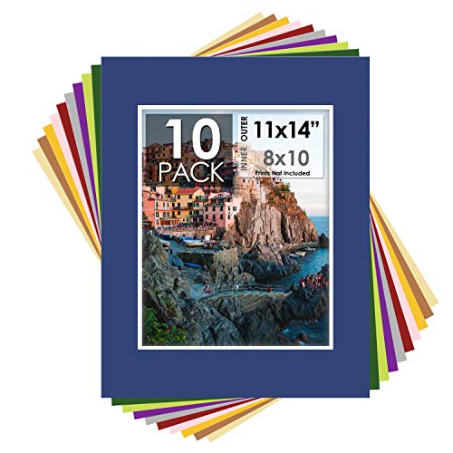 Mat Board Center, Pack of 10 11x14 Mixed Colors White covid 19 (Double Picture Mats Matting coronavirus)