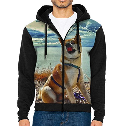 STWr Akita Dog Men's Long Sleeve Hooded Sweatshirts For Men ()