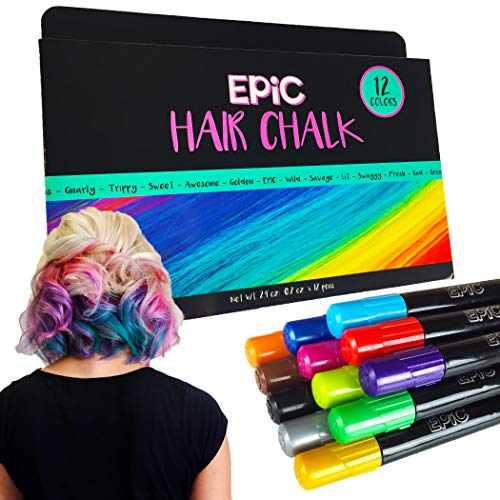 EPIC - Hair Chalk Set - 12 Large, Colorful Chalk Pens - Birthday Gifts - Temporary Color for Girls, Boys and Adults - Perfect Present Ages 5 6 7 8 9 10 Years Old- Washable- Face Paint- Safe
