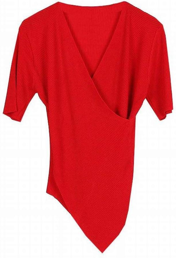 Katylen Jersey de Manga Corta con Cuello en Pico Cruzado, Camisa de Base de Dobladillo Irregular de Autocultivo Fino para Mujer, Rojo, s