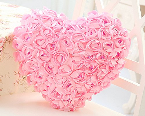 PlayDo 3D Rose Flowers Accent Pillows Heart Shaped Garden Decorative Throw Pillow Couch Cushion Case Romantic Love Satin Rose Wedding Party Home Decor Home Sofa Bed - Pink Flowers Shaped Heart